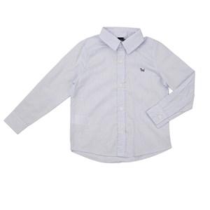 Camisa Masculina Infantil / Kids Em Tricoline Xadrez Com Entretela - Um Mais Um Azul Claro