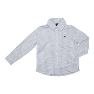 Camisa Masculina Infantil / Kids Em Tricoline Xadrez Com Entretela - Um Mais Um Branco
