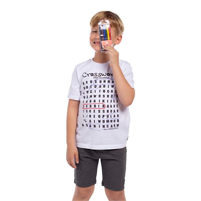 Camiseta Infantil Masculina Caça-Palavras Para Colorir Com Canetinhas Hidrográficas Vermelho