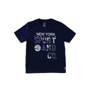 Camiseta Manga Curta Infantil Masculina Em Malha Com Patch Frontal - 1+1 Marinho