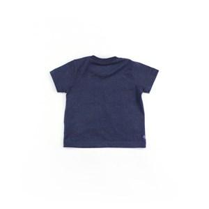 Camiseta Masculina Infantil / Baby Manga Curta Em Malha Stone Peletizada - Um Mais Um Azul Jeans