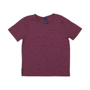 Camiseta masculina infantil / kids em malha stonada VINHO