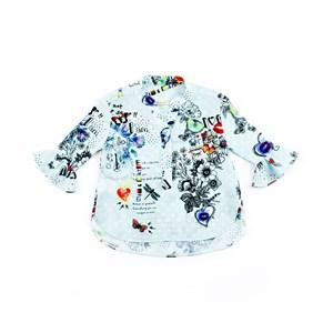 Camisete Infantil Feminino Em Crepe Donna Com Estampas Florais - 1+1 Azul Claro
