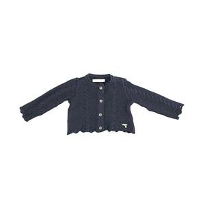 Casaco De Tricot Feminino Infantil / Baby Com Medalhinha Em Fio Acricotton - 1+1 Marinho