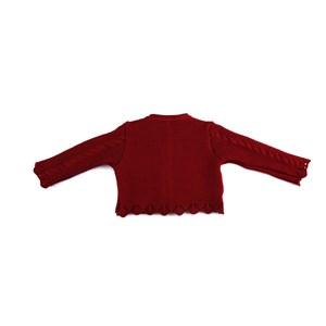 Casaco De Tricot Feminino Infantil / Baby Com Medalhinha Em Fio Acricotton - 1+1 Vermelho