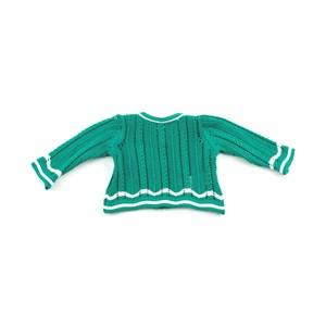 Casaco De Tricot Feminino Infantil / Baby Em Fio Acricotton - 1+1 Verde