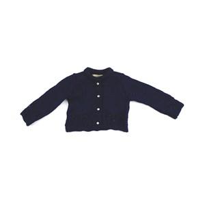 Casaco De Tricot Feminino Infantil / Baby Em Fio De Tricot Condorcryl - 1+1 Marinho