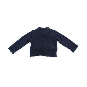 Casaco De Tricot Feminino Infantil / Baby Em Fio De Tricot Condorcryl - 1+1 Preto