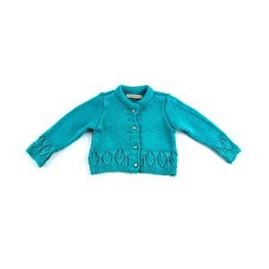 Casaco De Tricot Feminino Infantil / Baby Em Fio De Tricot Condorcryl - 1+1 Turquesa