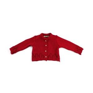 Casaco De Tricot Feminino Infantil / Baby Em Fio De Tricot Condorcryl - 1+1 Vermelho