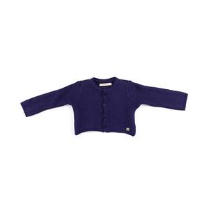 Casaco De Tricot Feminino Infantil / Baby Em Fio Seridó - 1+1 Marinho