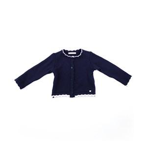 Casaco De Tricot Feminino Infantil / Kids Em Fio Acricotton - 1+1 Marinho