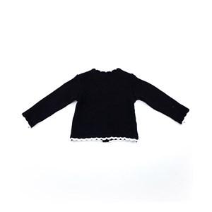 Casaco De Tricot Feminino Infantil / Kids Em Fio Acricotton - 1+1 Preto