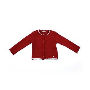 Casaco De Tricot Feminino Infantil / Kids Em Fio Acricotton - 1+1 Vermelho