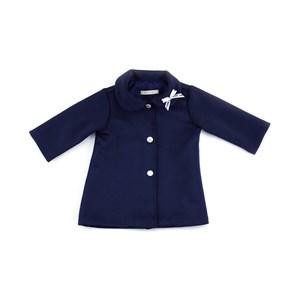 Casaco Feminino Infantil / Baby Com Laço Na Gola Em Neoprene Liso - 1+1 Marinho