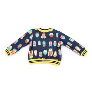 Casaco Infantil / Baby Em Tricot Estampado - Um Mais Um Marinho