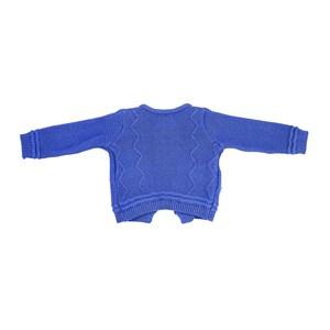Casaco Infantil / Baby Em Tricot - Um Mais Um Azul Jeans
