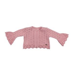 Casaco Infantil / Baby Em Tricot - Um Mais Um Rosa Claro