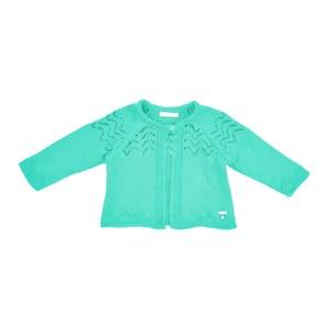 Casaco Infantil / Baby Em Tricot - Um Mais Um Verde Agua