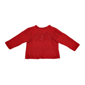 Casaco Infantil / Baby Em Tricot - Um Mais Um Vermelho
