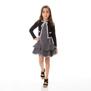 Casaco Infantil / Kids Em Tricot E Detalhe Em Cadarço - Um Mais Um Preto
