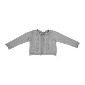 Casaco Infantil / Kids Em Tricot - Um Mais Um Mescla Claro