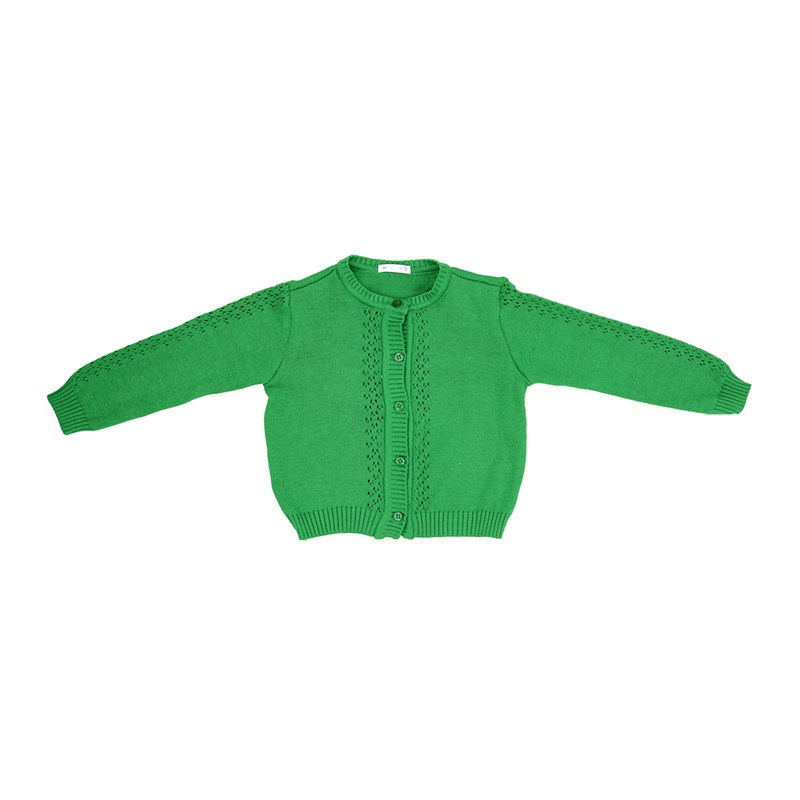 Casaco Infantil / Kids Em Tricot - Um Mais Um Verde