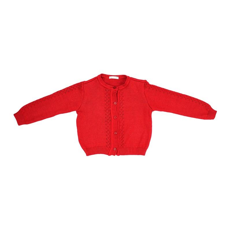 Casaco Infantil / Kids Em Tricot - Um Mais Um Vermelho