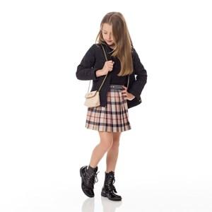 Casaco Infantil/Kids Feminino Em Nylon Matelassê - Um Mais Um Preto