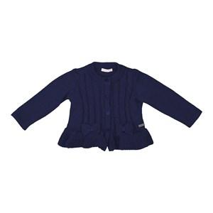 Casaco tricot baby feminino com laços frontais Marinho