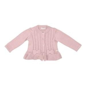 Casaco tricot baby feminino com laços frontais NUDE