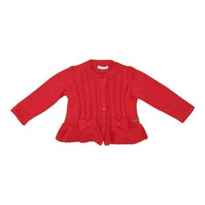 Casaco tricot baby feminino com laços frontais Vermelho