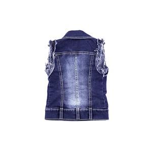Colete Feminino Infantil / Kids Com Broche De Flor Em Jeans Com Lycra - 1+1 Única