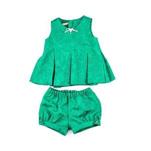 Conjuntinho Bata + Short Infantil / Baby Em Voial E Jacquard Com Corneli - 1+1 Verde
