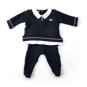 Conjuntinho Blusa + Calça Em Tricot Modelo Masculino - 1+1 Marinho
