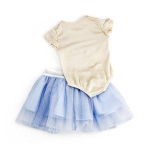 Conjuntinho Body + Saia Infantil / Baby Em Malha De Viscose E Organza Engomada - 1+1 Azul Claro