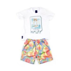 Conjuntinho Infantil / Baby Masculino Camiseta + Bermuda Em Malha E Sarja Com Lycra - 1+1 Amarelo Canario