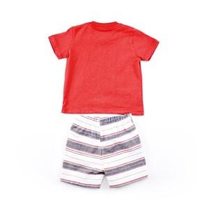 Conjuntinho Infantil / Baby Masculino Camiseta + Bermuda Em Malha Stone E Ribana - 1+1 Vermelho