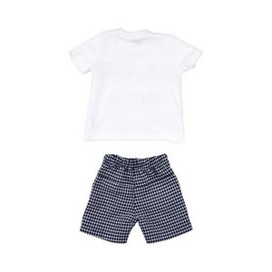 Conjuntinho Infantil / Baby Masculino Camiseta + Bermuda Em Malha Strong Com Xadrez - 1+1 Marinho