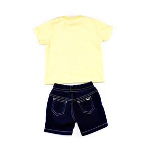 Conjuntinho Infantil / Baby Masculino Camiseta + Bermuda Em Malha Strong E Moletinho Jeans - 1+1 Amarelo Canario