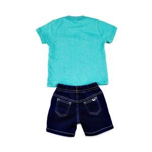 Conjuntinho Infantil / Baby Masculino Camiseta + Bermuda Em Malha Strong E Moletinho Jeans - 1+1 Verde