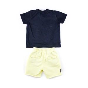Conjuntinho Infantil / Baby Masculino Camiseta + Bermuda Em Malha Strong E Moletom -1+1 Amarelo Claro