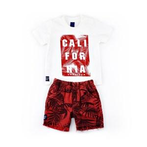 Conjuntinho Infantil / Baby Masculino Camiseta + Bermuda Em Malha Strong E Moletom- 1+1 Vermelho