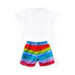 Conjuntinho Infantil / Baby Masculino Camiseta + Bermuda Em Malha Strong E Nylon Petizado - 1+1 Vermelho