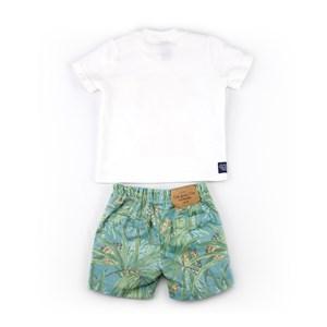 Conjuntinho Infantil / Baby Masculino Camiseta + Bermuda Em Malha Strong E Sarja Com Lycra - 1+1 Verde Agua