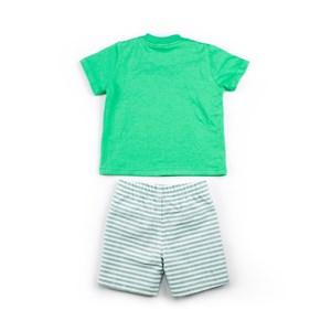 Conjuntinho Infantil / Baby Masculino Camiseta + Bermuda Em Malha Strong E Sarja Maquinetada Listrad Verde