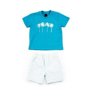 Conjuntinho Infantil / Baby Masculino Camiseta + Bermuda Em Malha Strong E Sarja Maquinetada Listrad Verde Agua