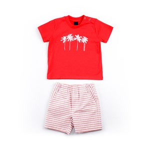 Conjuntinho Infantil / Baby Masculino Camiseta + Bermuda Em Malha Strong E Sarja Maquinetada Listrad Laranja Escuro