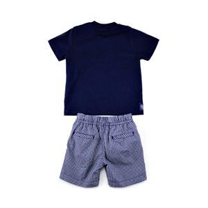 Conjuntinho Infantil / Baby Masculino Camiseta + Bermuda Em Malha Strong E Xadrez -1+1 Marinho