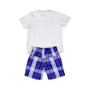Conjuntinho Infantil / Baby Masculino Camiseta + Bermuda Em Piquet Stone E Tricoline Off - 1+1 Única
